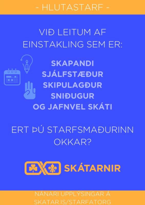 Sýnieintak af auglýsingu fyrir starfsmann skátafélaga