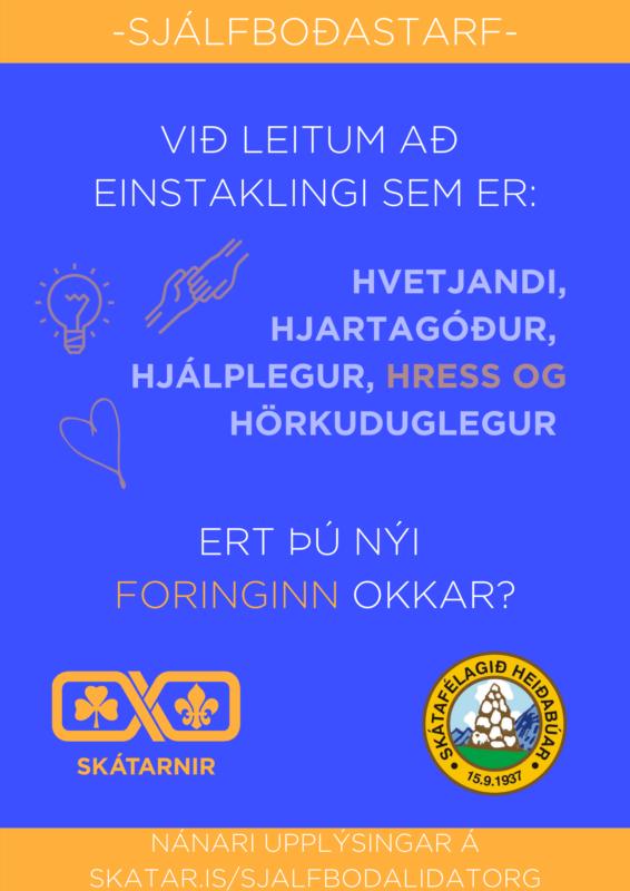 Auglýsing fálkaskátaforingja Heiðabúar